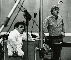 Charles Fox (left) and Bob Crewe at sessions for Barbarella.
