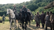 The Last Kingdom / Series Two Photographer: Des Willie © Carnival Film & Television Limited 2017 Ian Hart (as Beocca), Thure Lindhardt (as Guthred), Gerard Kearns (as Halig), Alexander Dreymon (as Uhtred), Eva Birthistle (as Hild)
